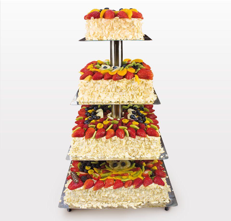 Almond Wedding Cake.Layer Wedding Cake With Fresh Seasonal Fruit And Almond Flakes